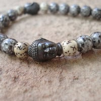 Buddha mens Bracelet,Grey Luster Glass and Lotus Seed Beads