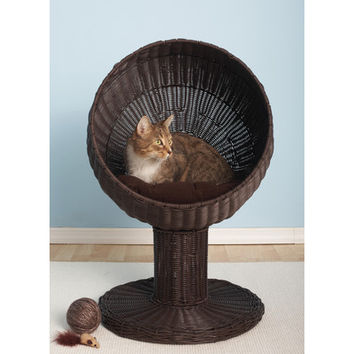 The Refined Feline Kitty Ball Rattan Cat Bed in Espresso