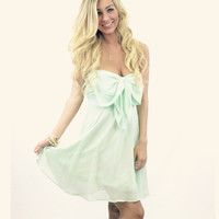 RESTOCKED! Camelot Mint Bow Top Chiffon Mint Tube Dress
