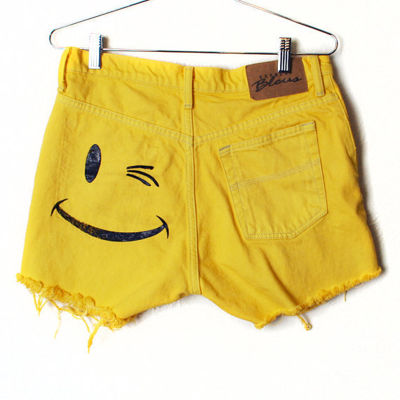 Smile Frayed Denim Shorts  Size 7/8 Express by burgerandfriends