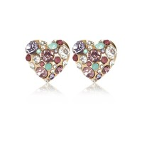 Gold tone clustered gem heart stud earrings