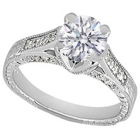 Engagement Ring - Round Diamond Vintage Pave Cathedral Engagement Ring 0.40 tcw, in 14k White Gold - ES105BR