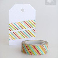 WASHI TAPE, blue, multicolor diagonally stripes