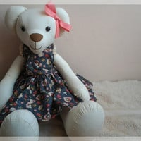 hand sewed fabric bear no sewing machine used by thujashop on Etsy
