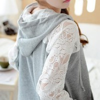 LACE STITCHING COTTON LONG SLEEVE CARDIGAN