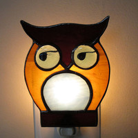$34.99 Stained Glass Night Light Owl by FleetingStillness