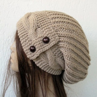 Hand Knit Hat- Womens hat -  Slouchy Beanie cable Knit Hat in Camel with  Button  Winter Accessories knitted beanie Autumn Fashion