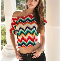 ZIG ZAG CROPPED TEE | Body Central