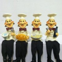 Four Funny Bistro Fat Chef Shelf Sitter, Kitchen Display