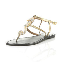 Flounder Gold Sea Horse Flat - Shoes - Miss Selfridge US