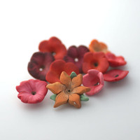 Summer Flower Mix Polymer Clay Beads Red and Orange by tooaquarius