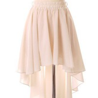 Asymmetric Waterfall Skirt in Ivory