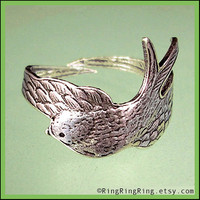 Bird ring Adjustable wing Antiqued silver ring by RingRingRing