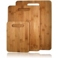 Bamboo Cutting Board Set - 3 Piece All In One Pack - Strong and Durable Hard Wood That Is Kind To Your Knives - Eco Friendly And Bio Degradable Boards - The Best Investment You Can Make For Your Kitchen - 100% Money Back Guarantee:Amazon:Kitchen & Dining