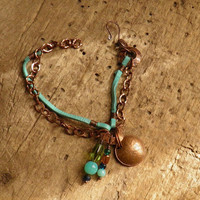 Copper chain and leather bracelet with charms by WillowRockDesigns