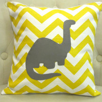 14x14 Dinosaur Yellow Chevron Pillow Cover by blackrufflebrigade