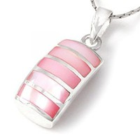 Pink Mother of Pearl Inlay Silver Pendant | HouseofBeads - Jewelry Supplies on ArtFire