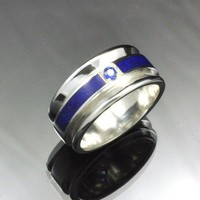 Lapis and Ceylon Sapphire Inlayed Sterling Silver Band | JewelerJim - Jewelry on ArtFire