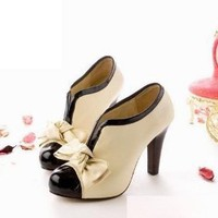 Sexy Lady Beige Bow Pump Shoes Platform Women High Heel (US5-AU5-UK3-EURO36)