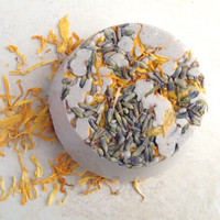 Lemon Lavender Bath Bomb Truffle (Organic) Bath Melt with Lavender, Lemon, Calendula