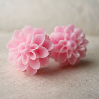 Pink Chrysanthemum Earrings by PiggleAndPop