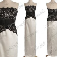 Sheath Long Strapless Lace and Satin Black and Ivory Wedding Party Dresses, Evening Dresses, Lace Prom Dresses, Formal Gown