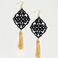 Filigree Lace Earrings with Gold metal tassels -Leather Jewelry - in Black