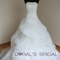 wd10345(f) organza ball gown prom bridal dress coral's bridal wedding dress
