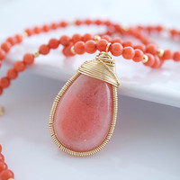 Coral Necklace Bezel Set Necklace by Jewels2Luv on Etsy