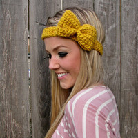 Mustard Bow Headband with Natural Vegan Coconut by HillNTrees