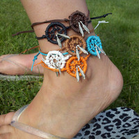 Dream Catcher ANKLET with Feathers Lots of Colors by MidnightsMojo