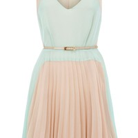 Oasis Colourblock pleat dress Multi-Coloured