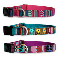 Southwestern bright stripe dog collar Native American, Mexican, Navajo inspired pet collar. Matching dog leash dog harness are available