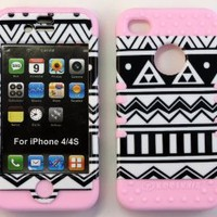 Bumper Case for Apple iphone 4 4G 4S Black & White Aztec tribal Print hard plastic snap on over Baby Pink Silicone Gel