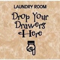 VINYL QUOTE LAUNDRY ROOM DROP YOUR DRAWERS HERE by vinylforall