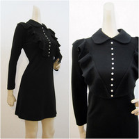 60s 70s Dress Vintage Mod Black Knit MINI Angela at London Town S M