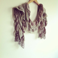Brown Scarf  Handmade Turkish Scarf High by AnatolianAccessories