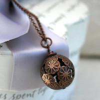 Antiqued Copper Daisy Flower bead necklace by kari1121 on Etsy