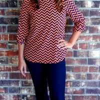 Chevron Cuff Sleeves Blouse