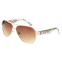 Leopard Glitter Aviator Sunglass - Teen Clothing by Wet Seal