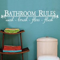 Bathroom Rules vinyl wall lettering words sticky art home decor quotes stickers decals: Home & Kitchen