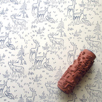 Rubber Pattern Paint Roller in Deer Design