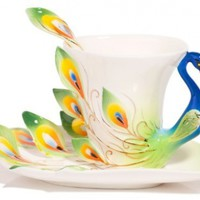 Claybox Hand Crafted Porcelain Enamel Graceful Peacock Tea Coffee Cup Set with Saucer and Spoon, Green:Amazon:Kitchen & Dining