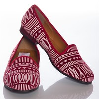 Steps to Style Aztec Print Loafers - Red from Bohemian at Lucky 21
