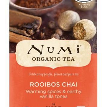 Numi Organic Tea Ruby Chai, Spiced Rooibos Herbal Teasan, 18-Count Tea Bags (Pack of 3)
