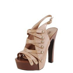 Breckelle&#x27;s Soho02 Blush Strappy Platform Slingback Heels and Womens Fashion Clothing &amp; Shoes - Make Me Chic