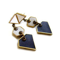 Geometric  Statement Earrings, Neon Diamond Triangle Hexagon Post Dangle Earrings