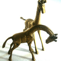 Pair of Brass Giraffes
