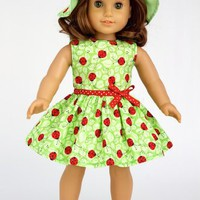 Ladybug - LadyBug Summer Dress with Hat and Red Slippers; fits 18 inch American Girl dolls.