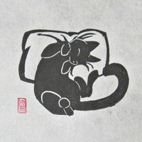 Catnapped  Mini Black Cat Lino Block Print by OniOniOniArt on Etsy